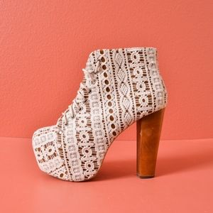 Jeffrey Campbell Lita Platform Ankle White Boot 7